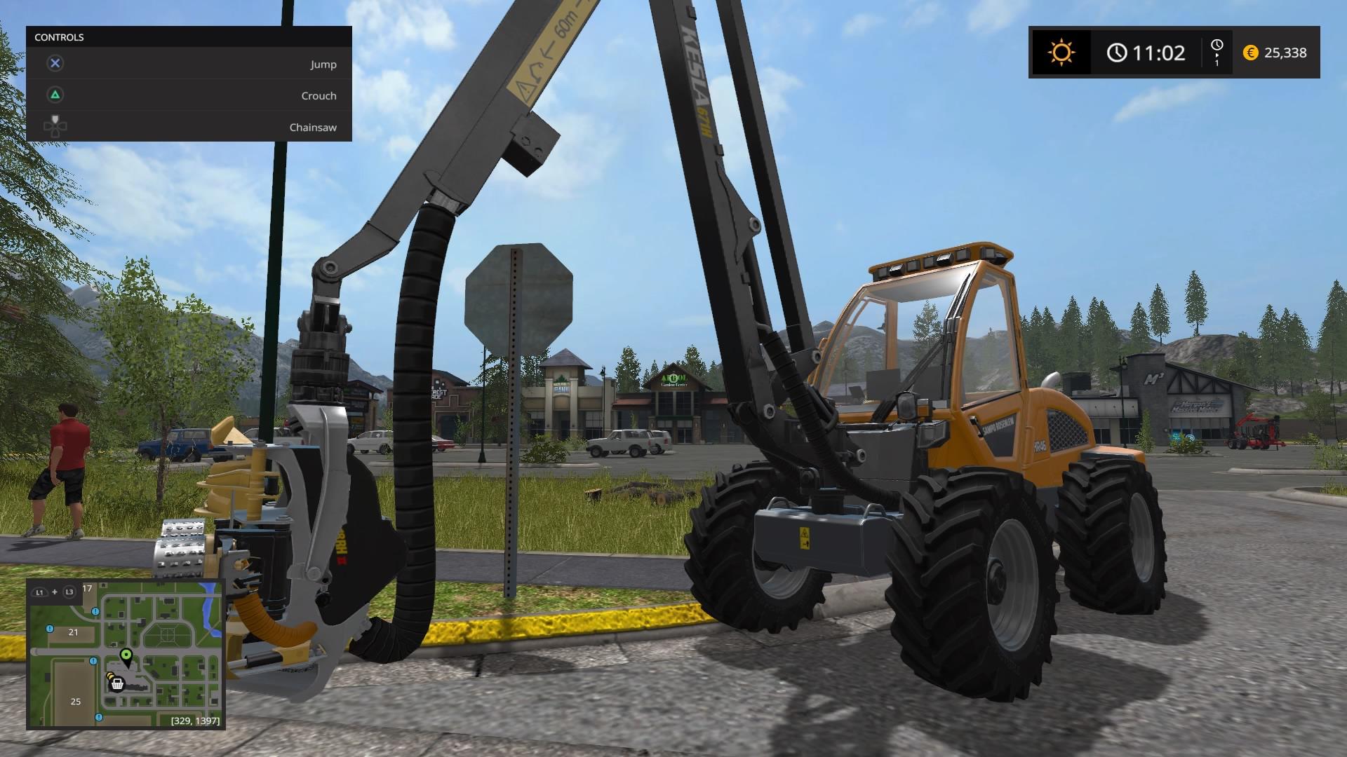Pikkukaupunki saa uuden ilmeen kun koneinnostunut pelaaja innostuu puiden kaatamisesta.