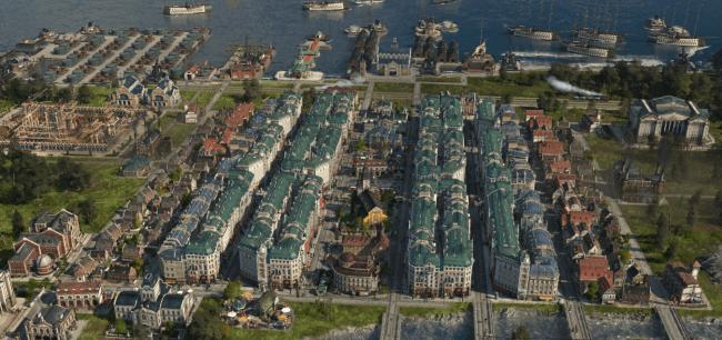 Vintage-kaupunkimaisemaa meren äärellä Anno 1800 -pelissä.