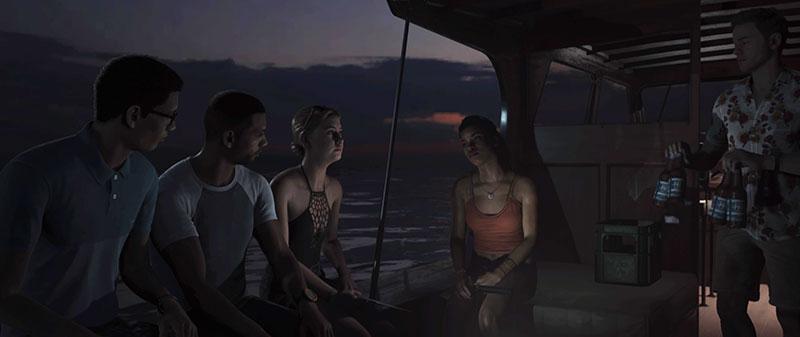 Nuoret istuvat veneessä.