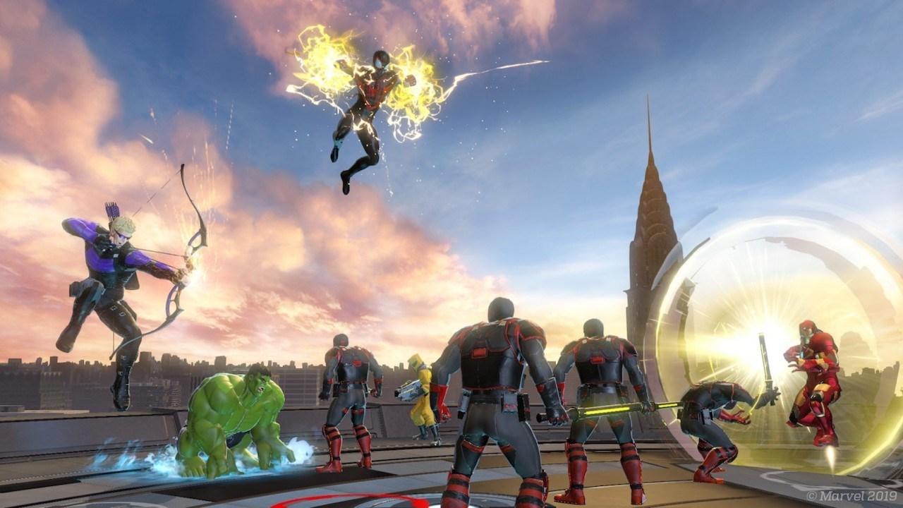 Spider-Man ja muut hahmot katolla.