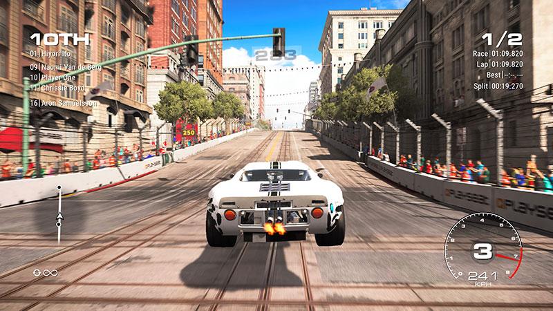 Kilpa-auto hyppää San Franciscossa.