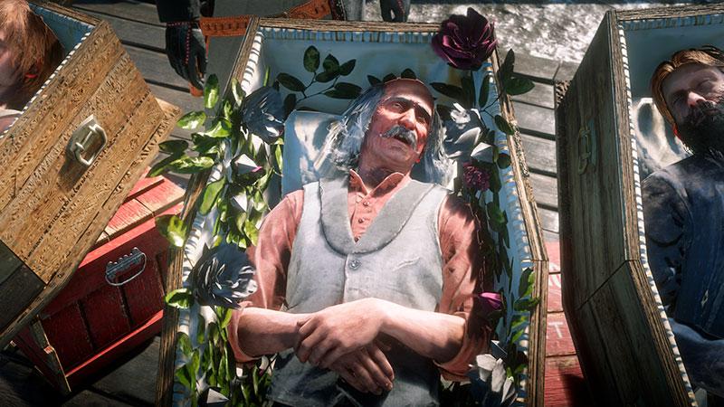 RDO-hahmo arkussa menehtyneenä.