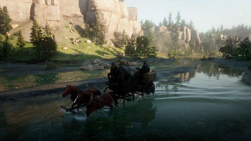Arthur joukkoineen kahlaa joessa.