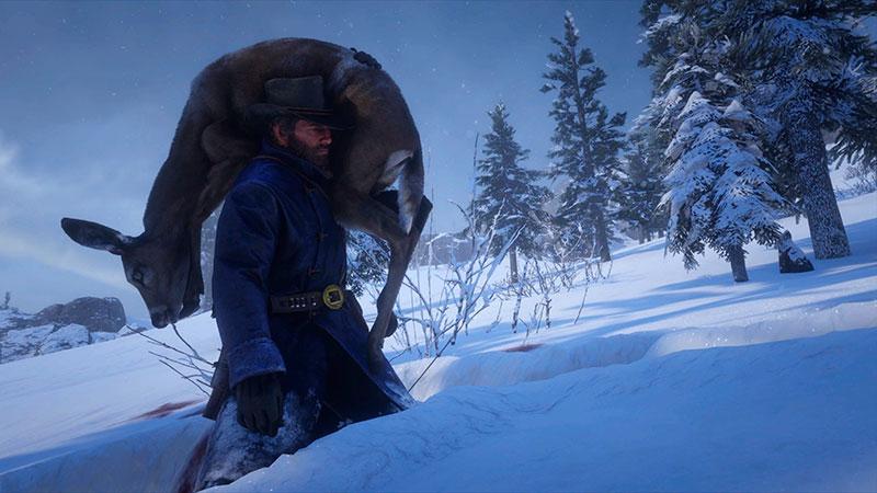 Red Dead Redemption 2 pc -valokuvatilalla otettu kuva, jossa Arthur kantaa kuollutta valkohäntäpeuraa.