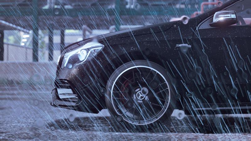 Mecedes-Benz kaahaa sateella.