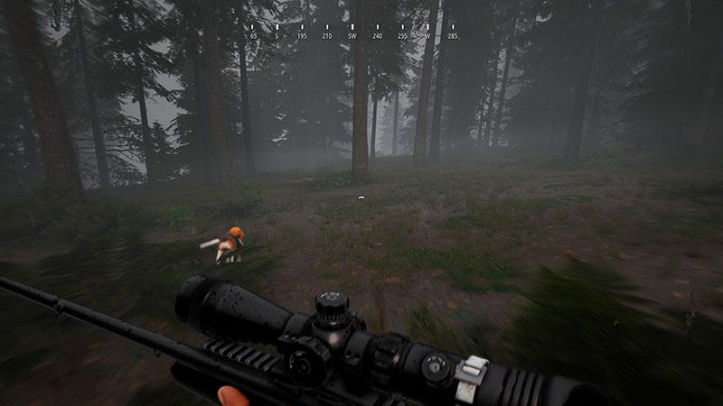 Metsästäjä juoksee koiran perässä.