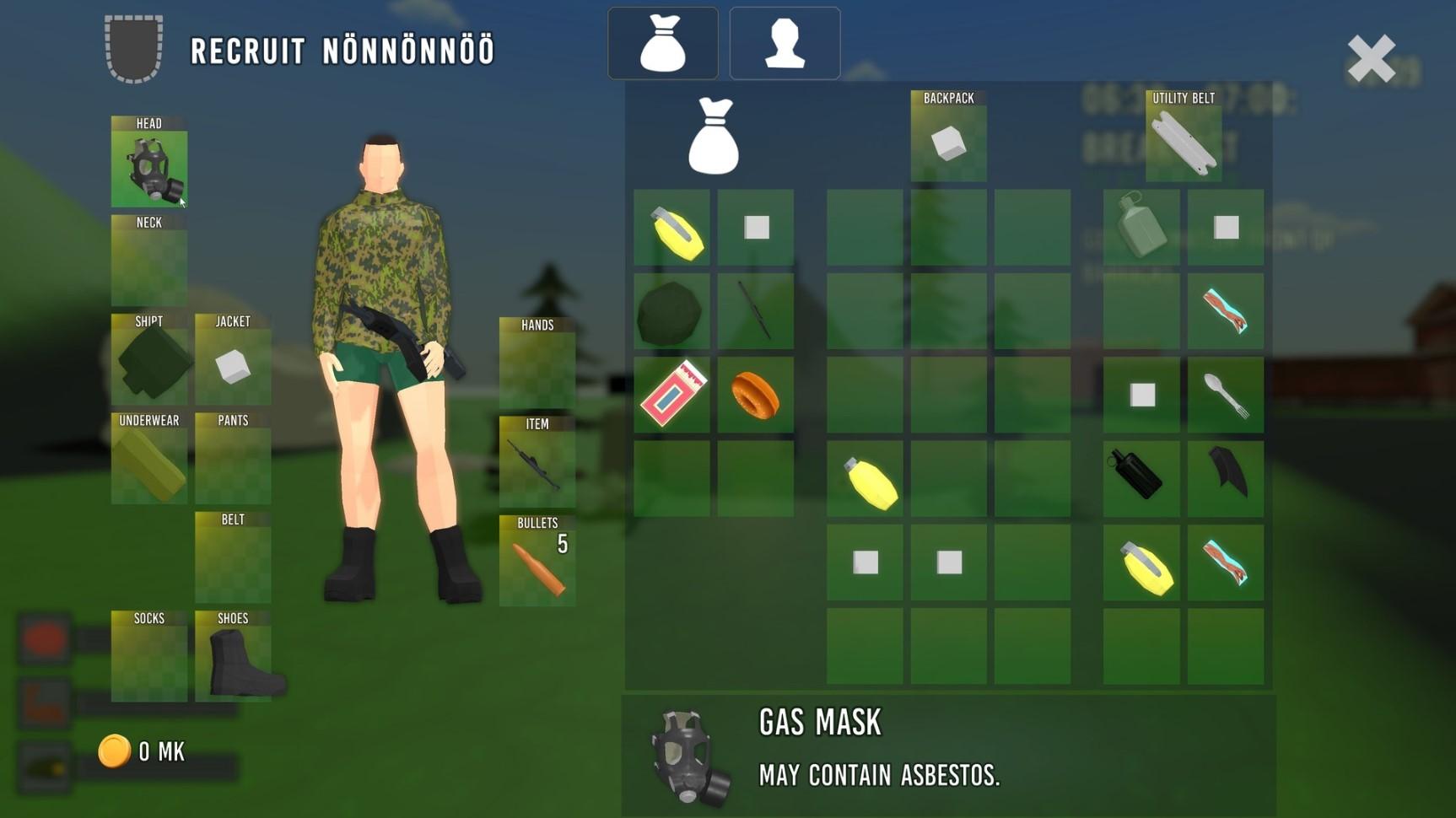 Finnish Army Simulator -pelin strategiataulukko.