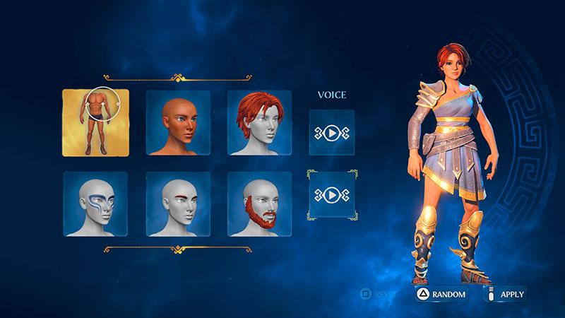 Immortals: Fenyx Rising -pelin hahmogeneraattori.